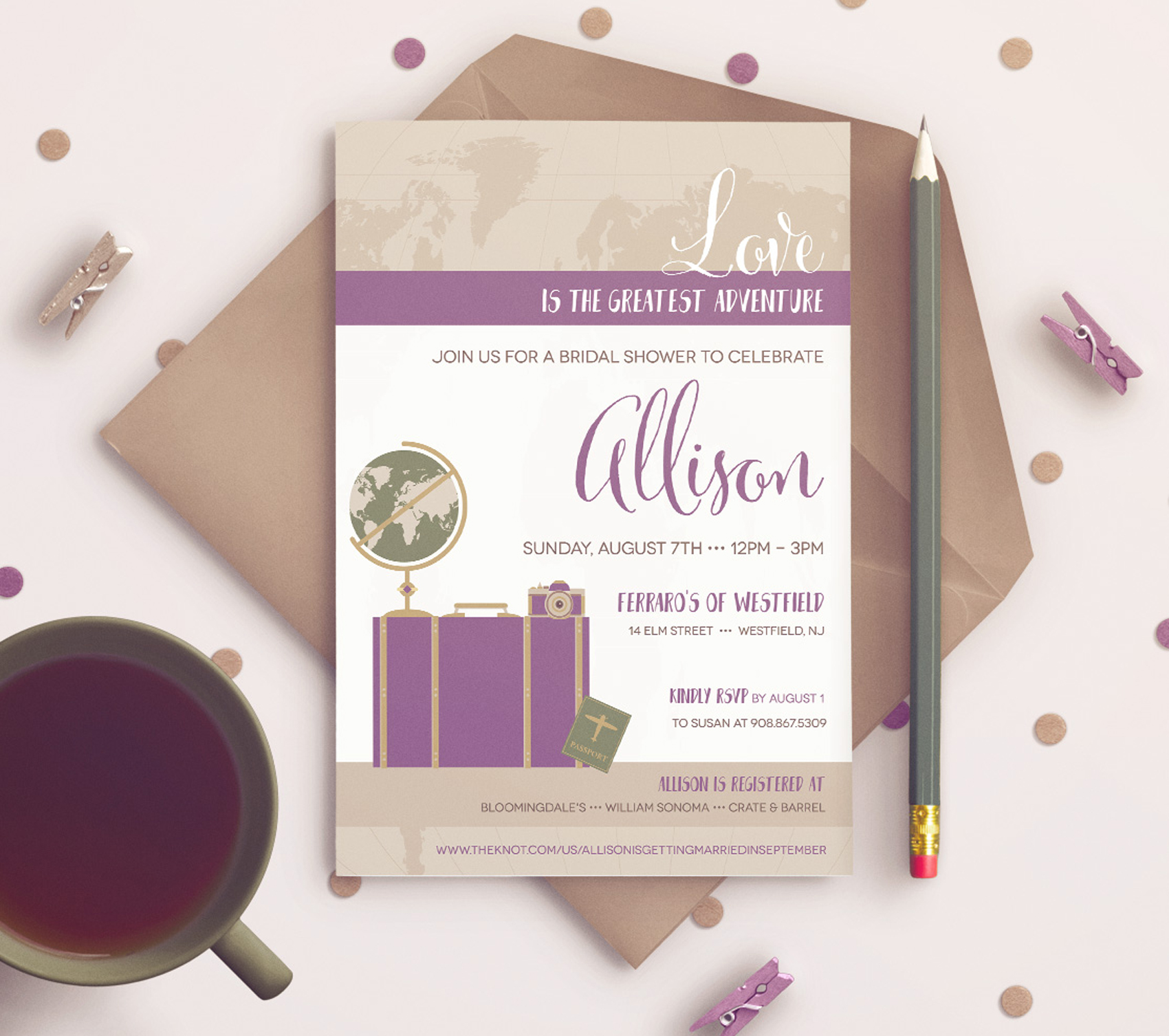 Travel themed bridal shower invitation sixthirteen creative bridal shower invitations for a travel themed party filmwisefo